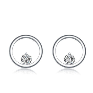 Sterling Silver Round earrings with Cubic Zirconia Earrings - Skyla Jewels Australia