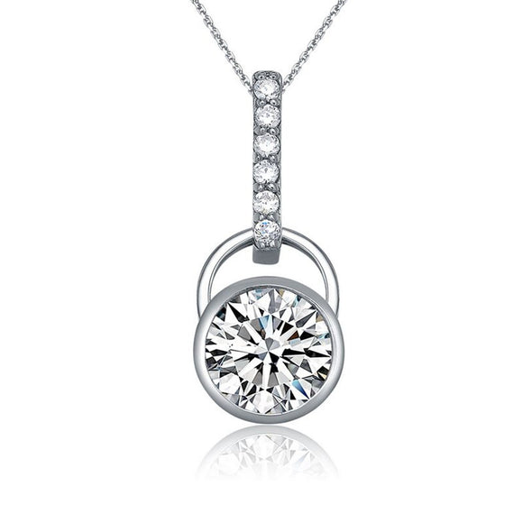 Sterling silver necklace with brilliant round cut cubic zirconia Pendant - Skyla Jewels Australia