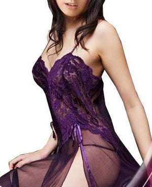 Plus Size XXL S- 6XL Purple Black Blue Mesh Sheer Night Dressingintotham-intotham