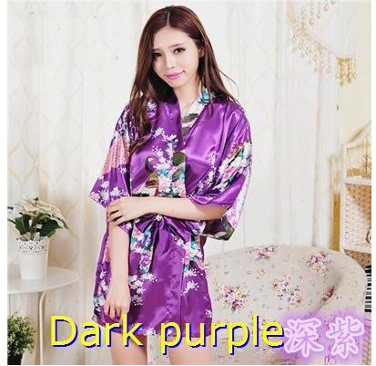 Brand Purple Female Printed Floral Kimono Dress Gown Chinese Style Silk Satinintotham-intotham