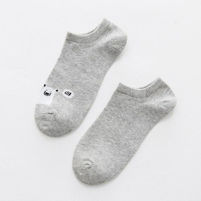 Cotton animal pattern comfortable girl women's boat socks ankle low female invisibleintotham-intotham