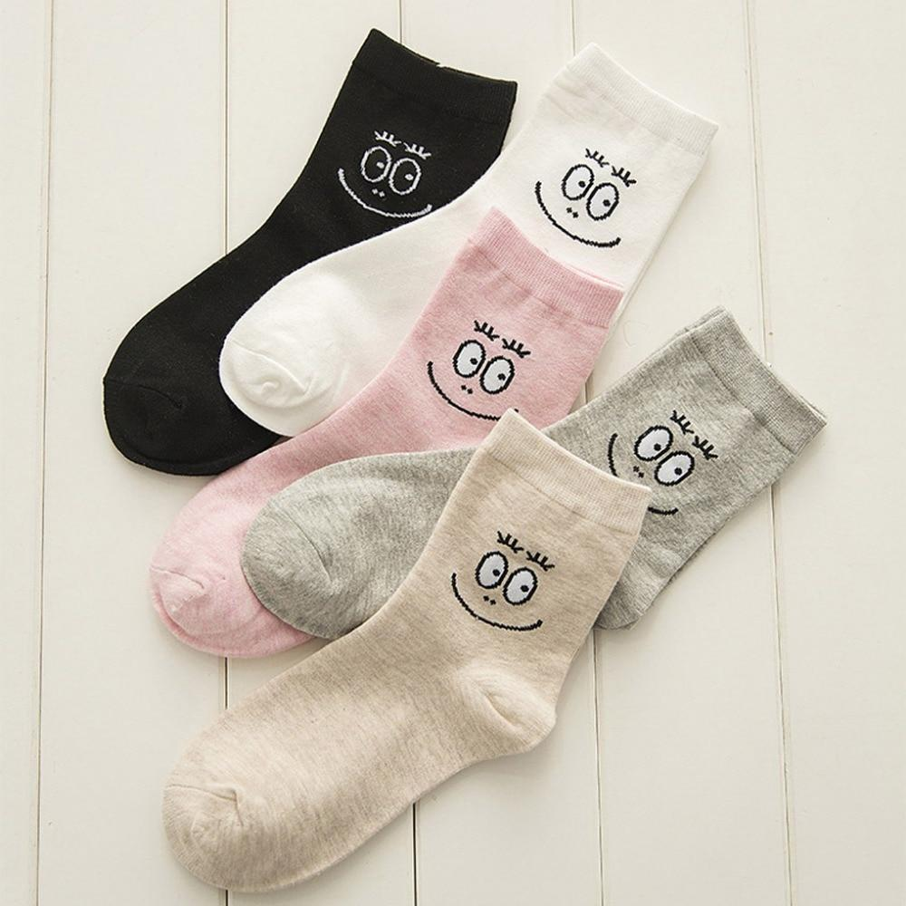 Autumn Winter Socks Women Harajuku Pure Color Girls Cartoon Smiling Face Printintotham-intotham