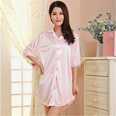 Free Shipping Summer Style Solid Chiffon Temperament Sexy Silk Nightdress Woman Pijamasintotham-intotham