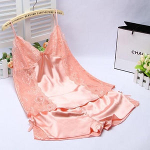 Ladies Sexy Silk Satin Pajama Set Lace Pyjama Set Sleeveless Set V-neckintotham-intotham