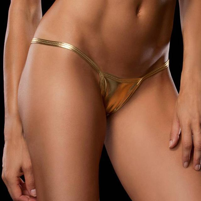 Shiny G String Micro Mini Sexy Panties For Women Underwear Metallic Puintotham-intotham