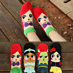 Fashion Creative 1Pair Lovely Children Student Cute Socks Cartoon Princess Girls Cottonintotham-intotham