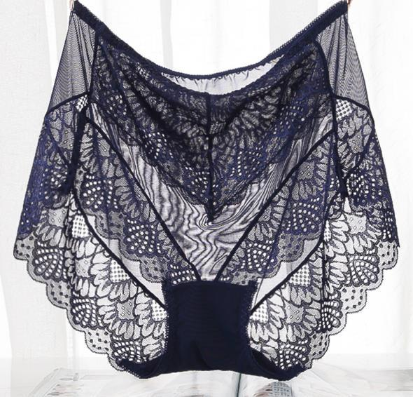 QA195 Women plus size 4XL transparent panties seamless mesh lace sexy underwearintotham-intotham