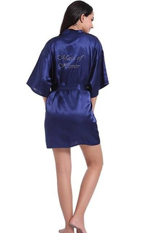 Bridesmaid Bride Wedding Robe Gown Rhinestone Nightdress Negligee Female Kimono Sleepwear Sexyintotham-intotham
