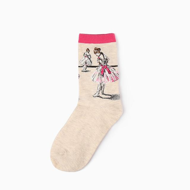 Fashion Art Combed Cotton Crew Women Socks Painting Creative Design Lovers socksintotham-intotham