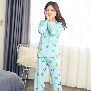 Shirt Autumn Winter Women Pyjamas Thin Long Sleeve Pajamas Set Student Tracksuitintotham-intotham