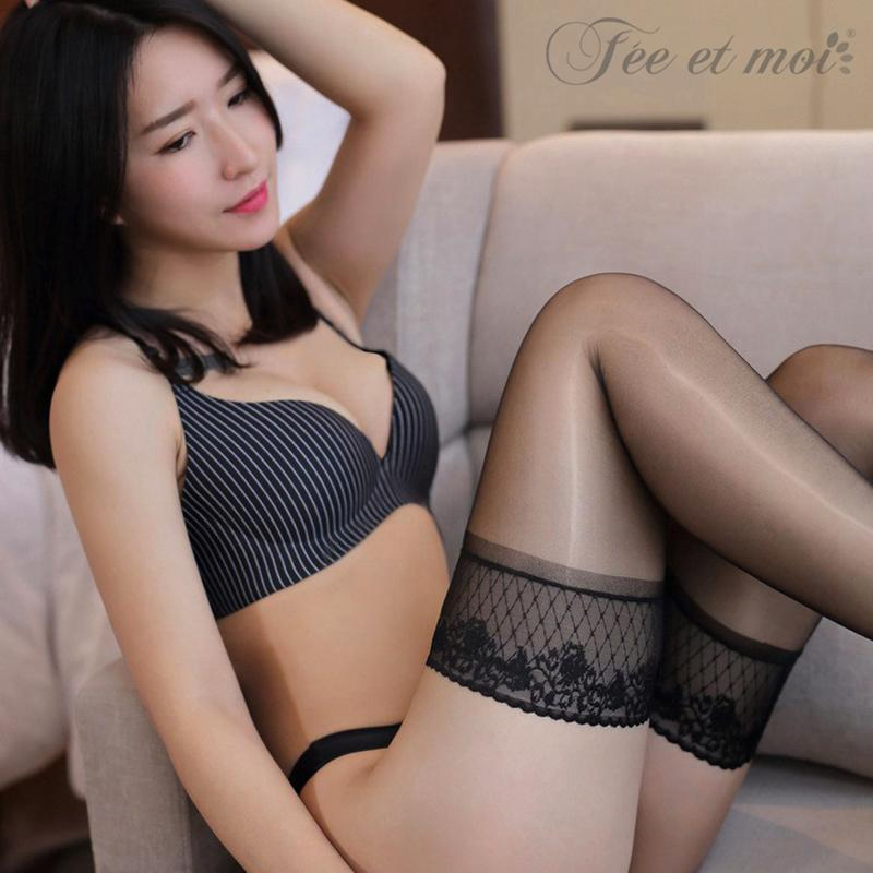 Fee Et Moi New Oil Shine Sheer Stockings for Women Flower Laceintotham-intotham
