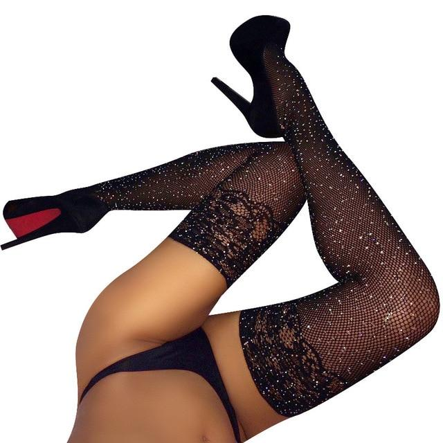 Sexy Rhinestone Tights Stockings Mesh Female Pantyhose In A Grid Womenintotham-intotham
