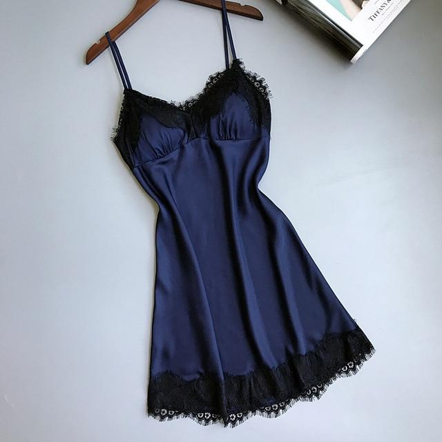 Women Nightgowns Silk Sleepwear Satin Lace Sexy Elegant Female Sapghetti Strapintotham-intotham