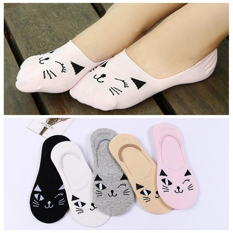 Women Candy Color Socks calcetines Cartoon Cat Short Cotton Boat Socks Breathableintotham-intotham