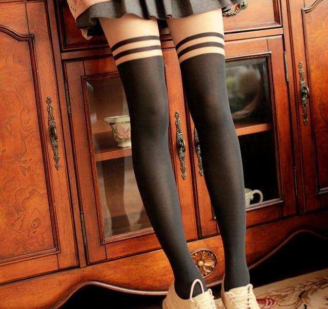 Popular in Japan Girl Women Sexy velvet Double stripes Tights fake Highintotham-intotham