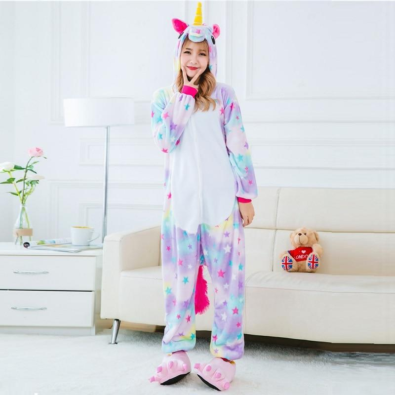 Cute Cartoon Animal stars Unicorn Pajamas Flannel Hooded Long Sleeve Adult Unicorniointotham-intotham