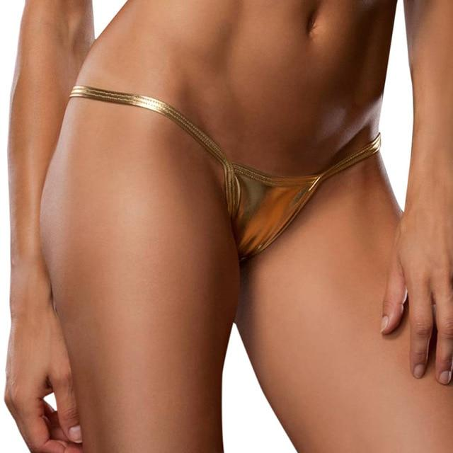 2018 New Women Sexy Panties Metallic Color G String Micro Bikini Thongintotham-intotham