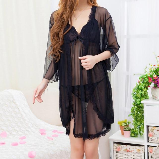 SEEDRULIA Sexy Sleepwear Set Female Temptation Dress Women's Summer Lace Transparent Nightgownintotham-intotham