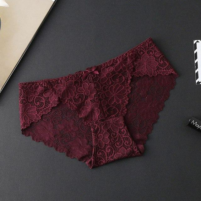 Embroidery Panties Floral Hollow Out Low Rise Lace Panties Women Elegantintotham-intotham