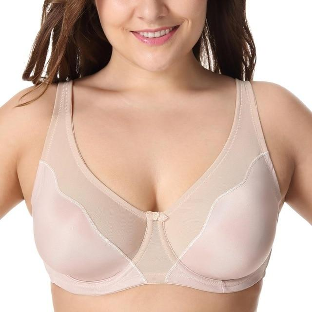 Women Comfort V-neck Full Coverage No Padding Underwire Minimizer Braintotham-intotham