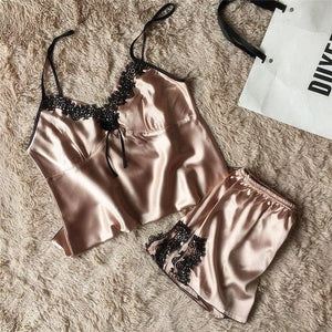 sexy women's lace silk satin pajamas sets free shipping 2018 new designintotham-intotham