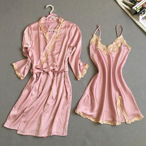 New Arrival Ladies Sexy Silk Satin Robe Gown Set Lace Bath Robeintotham-intotham