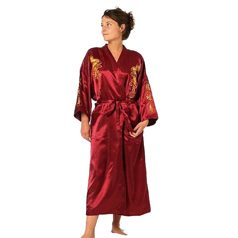 Burgundy Satin Embroidery Dragon Kimono Bathrobe Gown Women's Sexy Satin Robe Longintotham-intotham