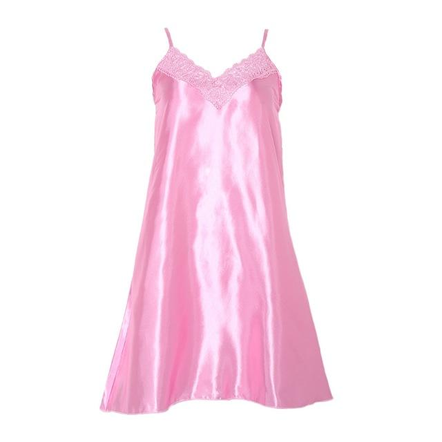 Women Ice Silk Cool Nightgown Pyjamas Sexy V Neck Sleepwear Nightwearintotham-intotham