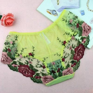 Fashion Sexy Embroidery Shorts Comfortable Nylon Women Briefs Sexy Low-Rise Briefsintotham-intotham