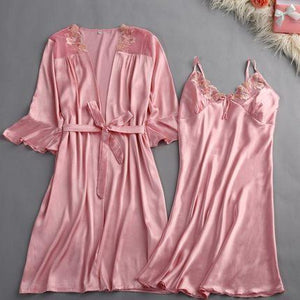 high quality Women Silk Lembroidery Lady Sleepwear Fashion Sexy Sets V-Neck Sleepwearintotham-intotham