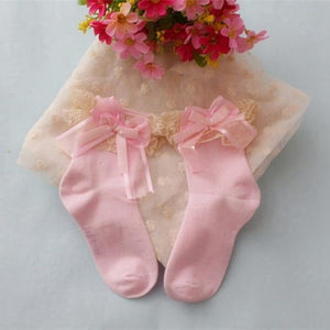 Cute Ankle Sweet Short Big Bow Princess Socks Lace Frilly Ruffle Cotton