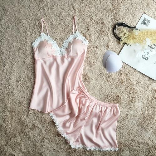 Lace Sexy Women Pajama Sets Spaghetti Strap With Pad Deep V Womenintotham-intotham