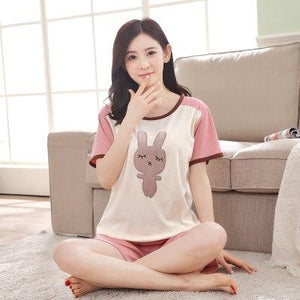 Summer Women's Cotton Pajamas Mujer Pijama Sets Ladies Sweet Cartoon Totoro Sleepwearintotham-intotham