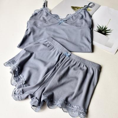 Two Piece Cotton Pajama Set Sexy Lace Top And Shorts Pyjamas Spaghettiintotham-intotham