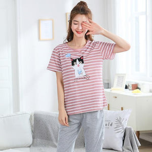 Free Shipping Plus Size M-5XL Women Pajamas Set Summer Short Sleeve Pyjamasintotham-intotham
