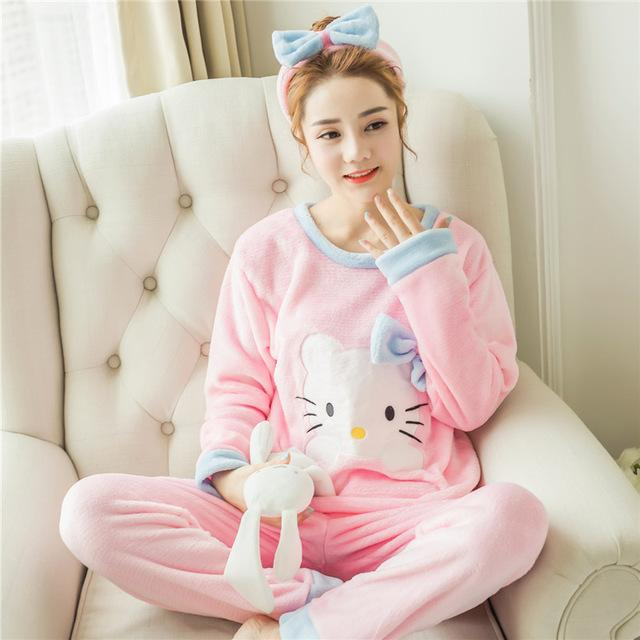Flannel Winter Women Warm Printing Cartoon Cat Pajamas with Long Sleeve Longintotham-intotham
