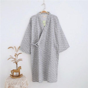 Simple Japanese Kimono Robes woMen Summer Long Sleeved 100% Cotton Bathrobe Fashionintotham-intotham