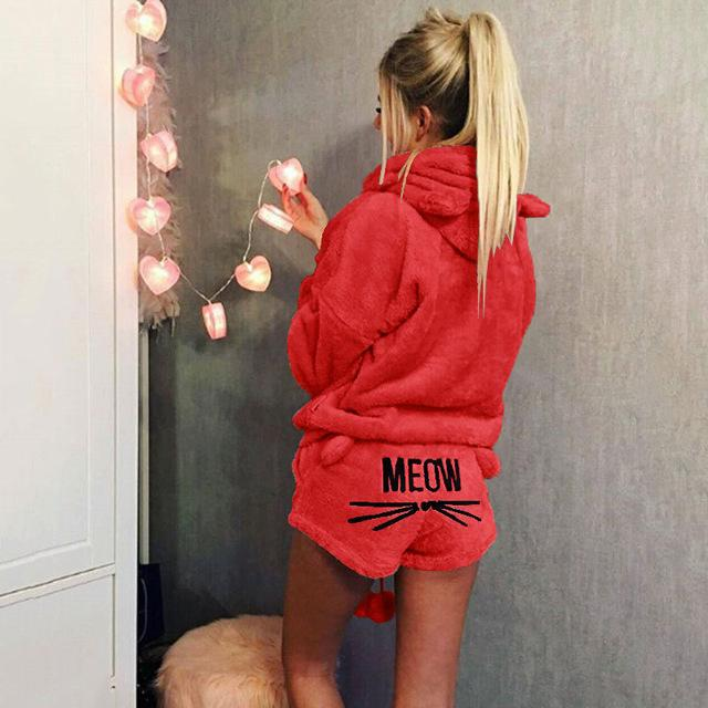 Plus Size Hooded Ball 2 Pc Women Pajamas Suits 2018 Winter Cartoonintotham-intotham