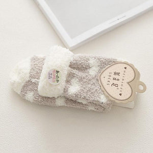 1Pair Women Long Winter Warm Socks Coral Fleece Bed Sleep Socks Linedintotham-intotham