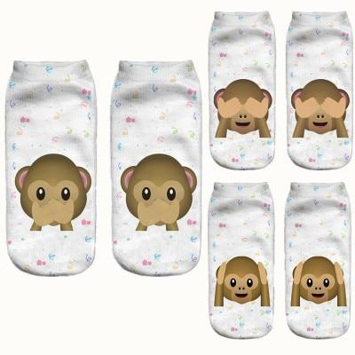 % Emoji cartoon animals Monkey 3D Printed Sock Women men Lowintotham-intotham
