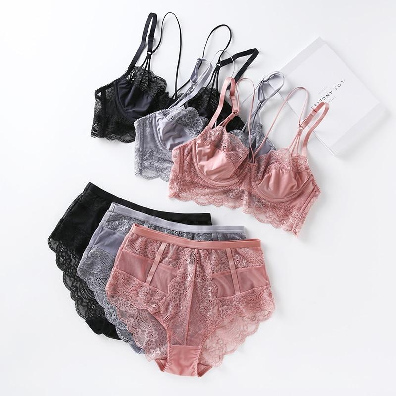 Lace ultrathin brassiere and waist-high panties push up beauty back pack womenintotham-intotham