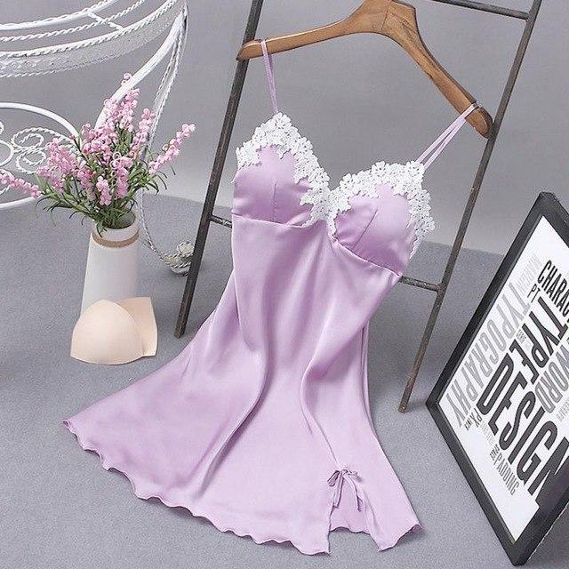 Fashion Padded Bust Lace V-Neck Sleeveless Floral Satin Nightgowns Spaghetti Strap Womenintotham-intotham