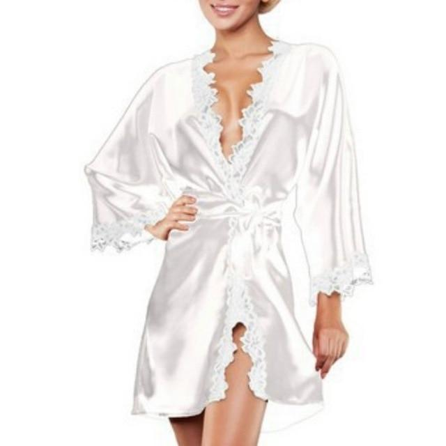 Women's Nightgown Sleepwear Sexy Silky Lace Trimmed Short Kimono Robe Nightwearintotham-intotham