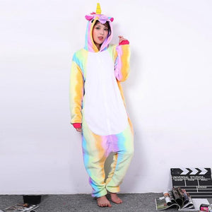 Girls Unicorn Pegasus Giraffe Pajamas Sets Flannel Animal Cartoon Nightie Stitchintotham-intotham