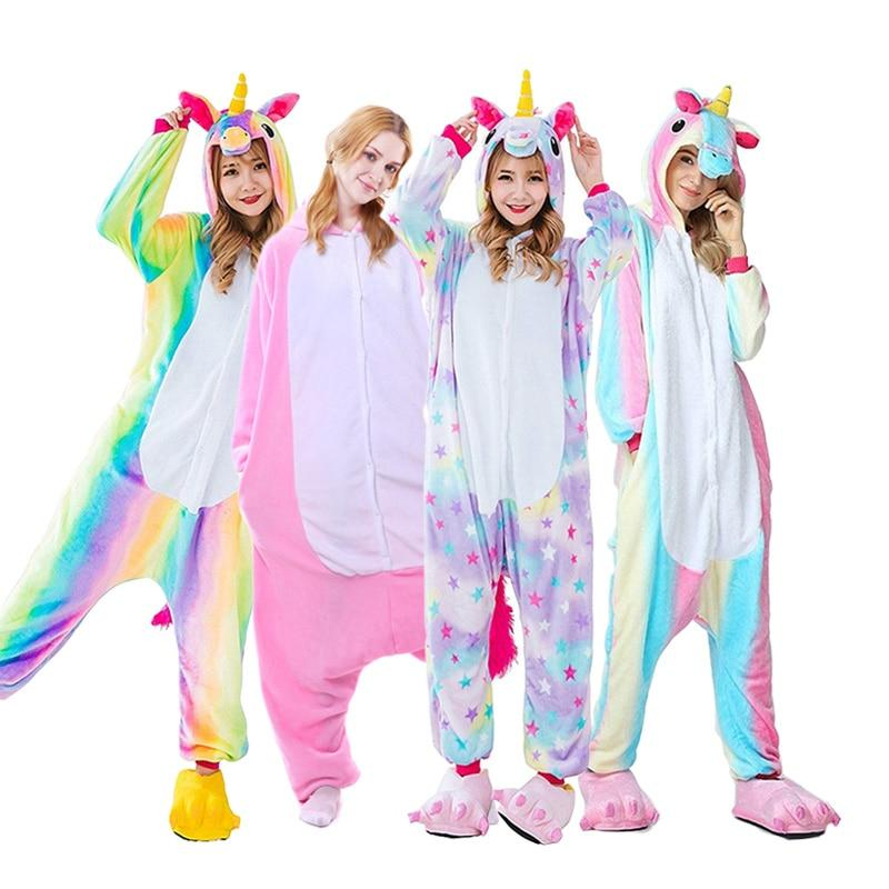 Adults Animal Unicorn Pajamas Set Panda Cartoon Kigurumi Women Men Winter Unisexintotham-intotham