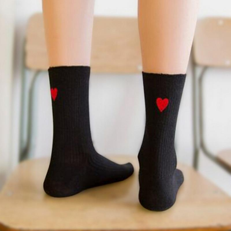Japanese Kawaii Embroidery White Black Short Socks Harajuku Cute Women Heart Shapedintotham-intotham
