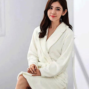 Flannel Coral Fleece Thicken Sashes Women's Bathrobe Striped Print Warm Female Nightgrownintotham-intotham