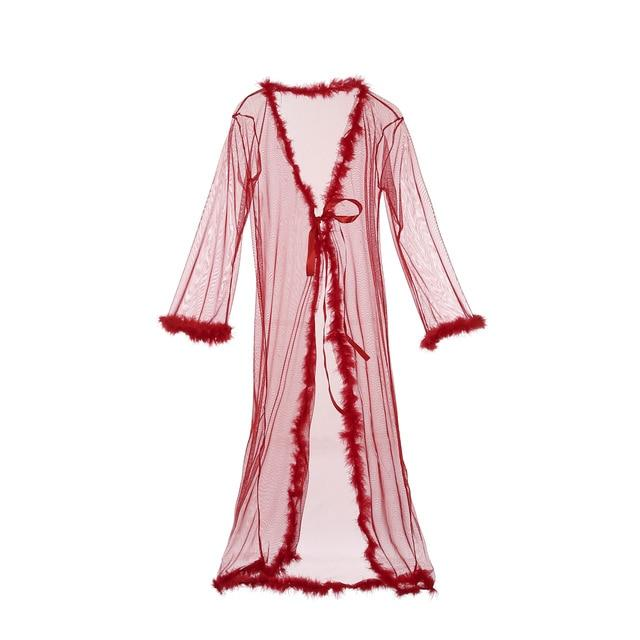 Womens Lingerie Dress Long Bath Robe Gown Babydoll Sexy Mesh Sheer Pajamasintotham-intotham