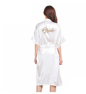 Gold Stamp 'Bride' Silk Satin Long Bride Robes Half Sleeve Kimono Nightintotham-intotham