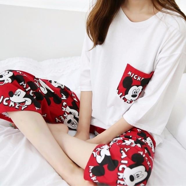 summer autumn half Sleeved Women Pajamas sets cartoon printed lovely Pyjamas Setsintotham-intotham